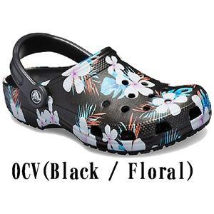 Crocs Black Floral Classic Seasonal Graphic Clog